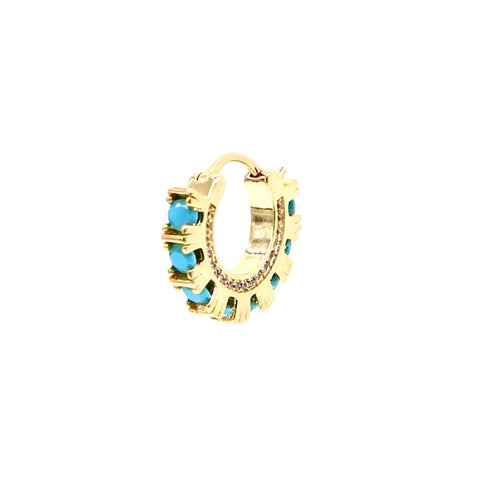 Arch Turquoise Cz Hoop Earring