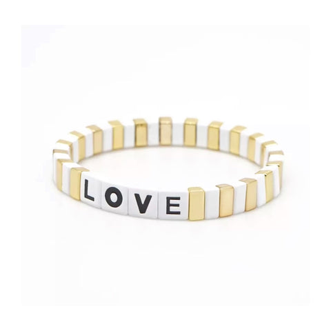 Bracelet carreaux émail rectangle Love