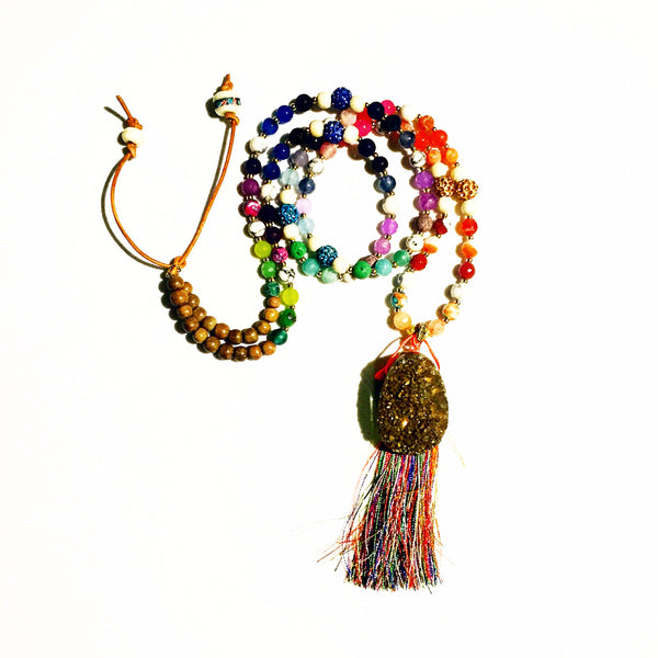 "New ""Over The Rainbow"" Gold Drusy Beaded Necklace"
