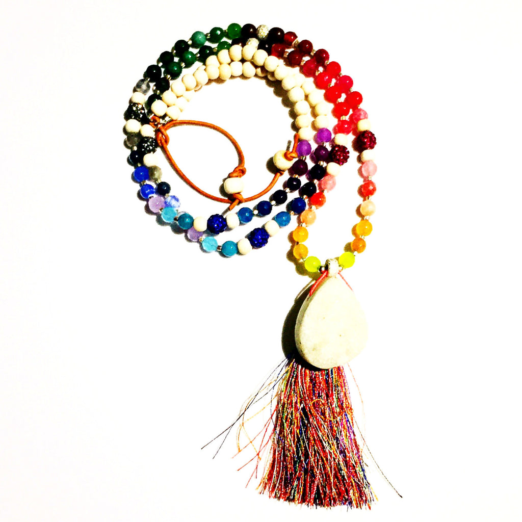 Multicolor White Drusy Tassel Beaded Necklace