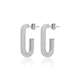 Fully Pave Open Loop Stud Earrings