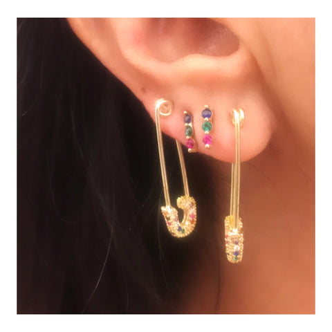 SALE Long Pave Safety Pin Earring