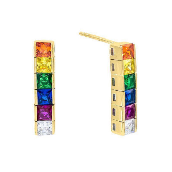 6 Princess Cut Tennis Stud Earrings