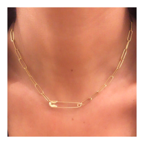 Safety Pin Link Chain Choker Necklace