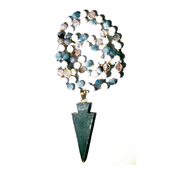 Aqua Quartz Arrow Custom Beaded Necklace