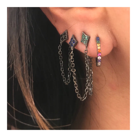 SALE Flo Pave Dangling Stud Earrings