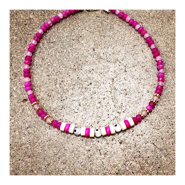 Protective Eyes Pink Agates Anklet
