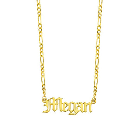 Gothic Name Figaro Chain Necklace
