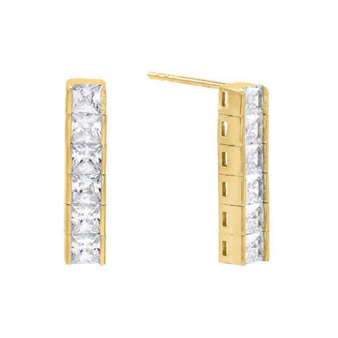 SALE 6 Princess Cut Tennis Stud Earrings