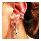 Pave Dangling Tusk Stud Earring