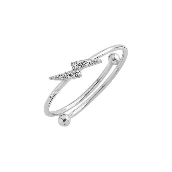 Pave Thunder Bolt Adjustable Ring