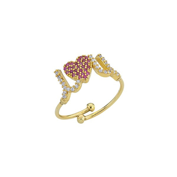 Pave I Heart U Adjustable Ring