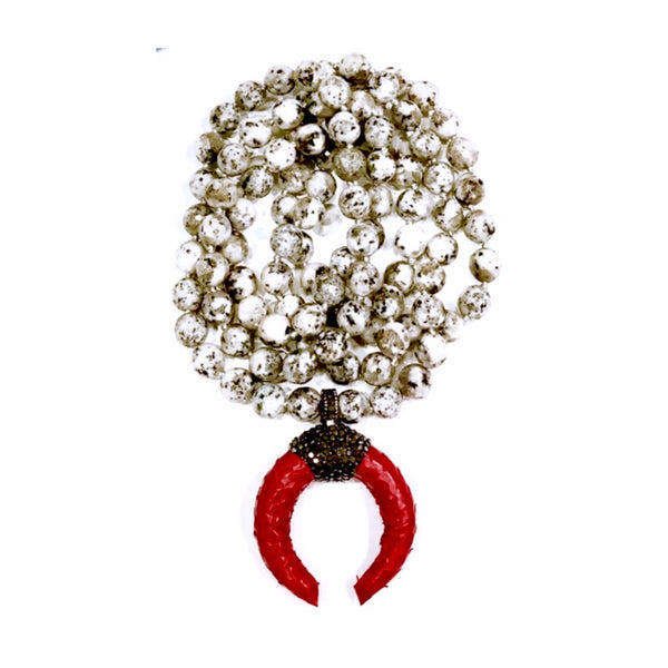 Red Python & Marcasite Crescent Pendant White Jasper Custom Beaded Necklace