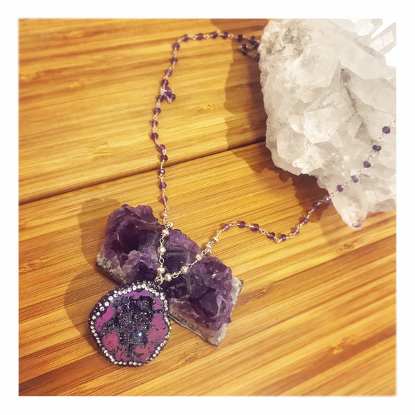 Sliced Purple Druzy with Marcasite Amethyst Long Custom Beaded Necklace