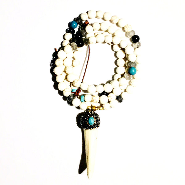 Marcasite Turquoise Detail White Tusk Custom Beaded Necklace