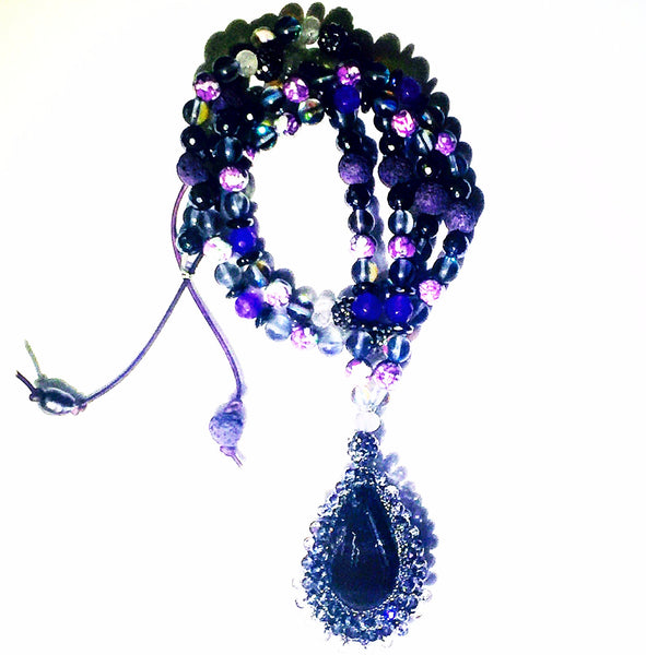 XL Macrame Crysral Purple Mix Custom Beaded Necklace