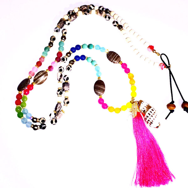 Pink Tassel Seashell Multicolors Beaded Necklace