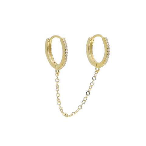 Hook Me Up Small Pave Double Hoops Earring