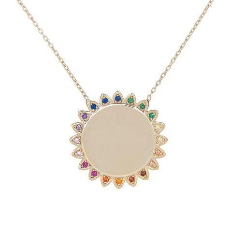 Small Sunflower Multicolor Stones Necklace
