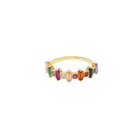 Multicolor Half Baguettes Ring