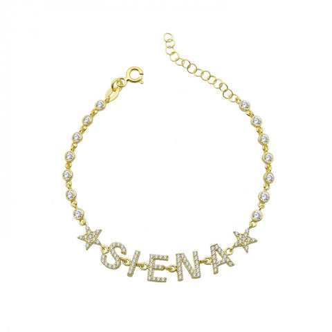 By the Yard Pave 2 Stars Name Bracelet
