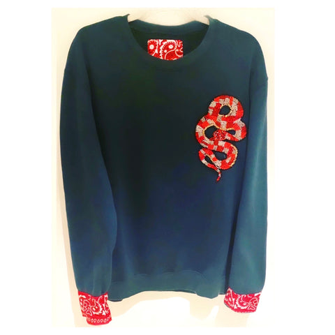 Teal Beaded Red Snake Sweat-shirt