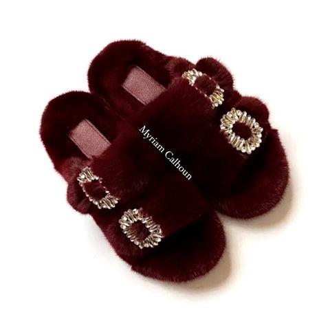 Burgundy Jeweled Arizona Slippers