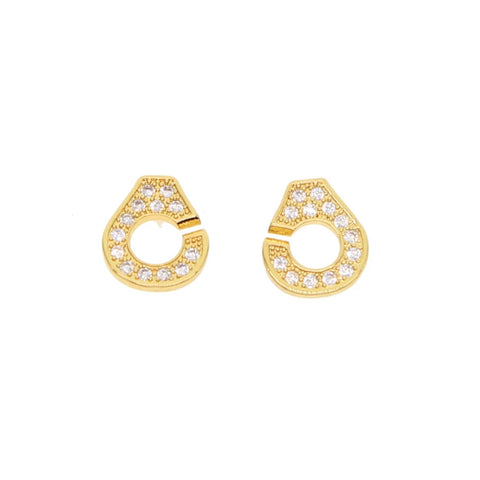Pave Handcuff Stud Earrings