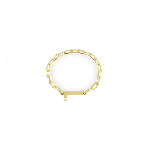 Letter Link Chain Ring