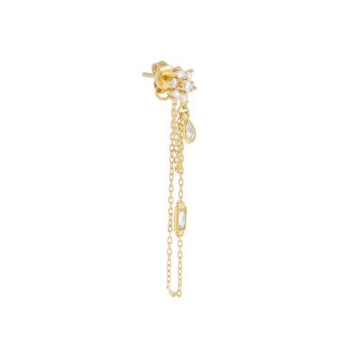 Chained Flower Stud Earring
