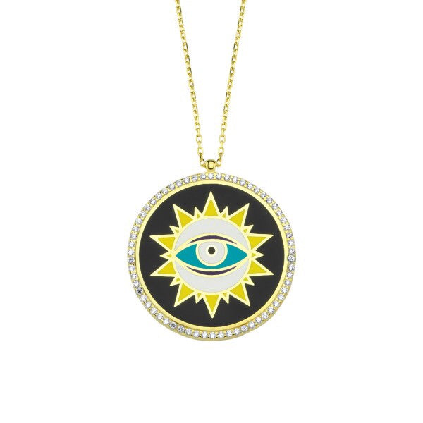 Black Enamel Shining Eye Disc Necklace