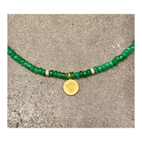 Forest Agate Lotus Disc Custom Beaded Necklace