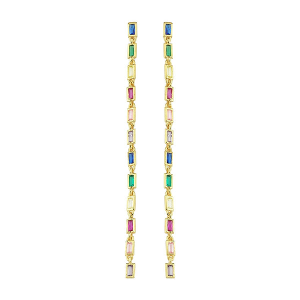 Extra Long Barrette Cz Earrings