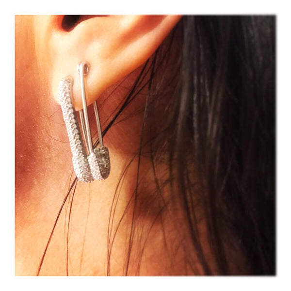 Long Pave Safety Pin Earring