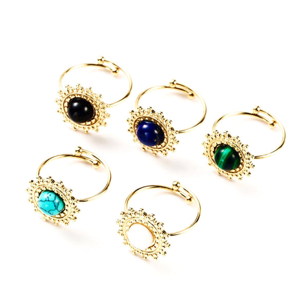 Sun Gem Center Adjustable Ring
