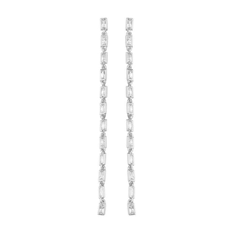 SALE Extra Long Barrette Cz Earrings