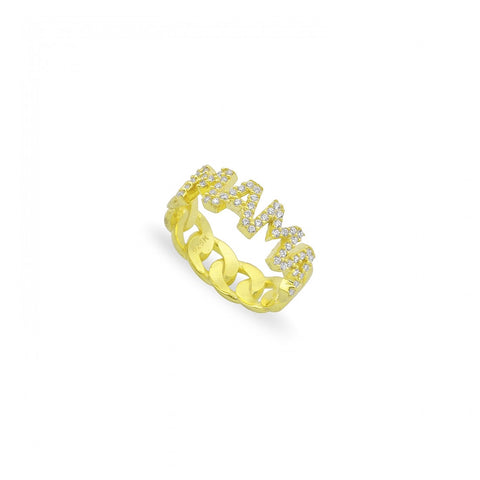 Pave MAMA Cuban Links Ring
