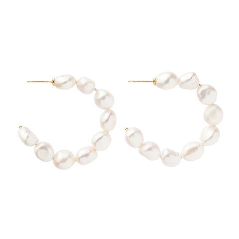 Large Fresh Water Pearls Wire Hoops