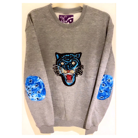 Blue Sequins Leopard Sweat-shirt