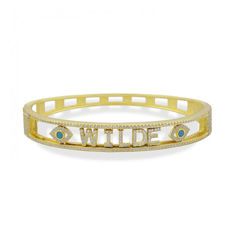 Sliding Pave Name With 2 Eyes Bangle