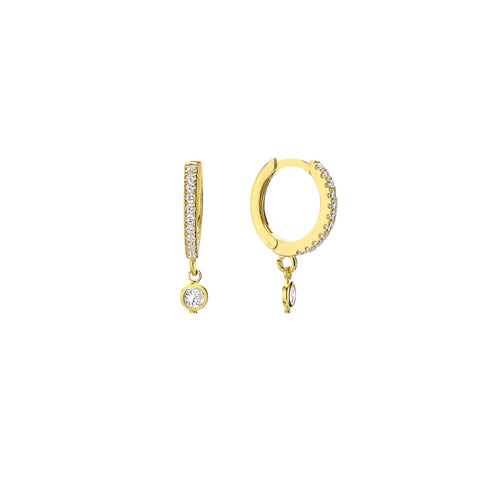 SALE Pave 1 Drop Hoops