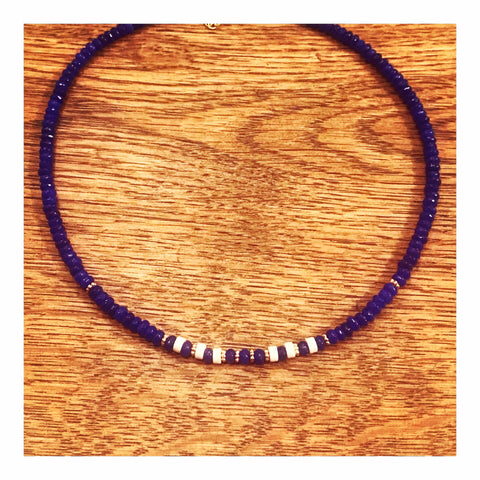 Royal Blue Agate Rondelles Custom Beaded Choker Necklace