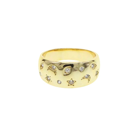 SALE Moon & Stars Wide Rounded Ring