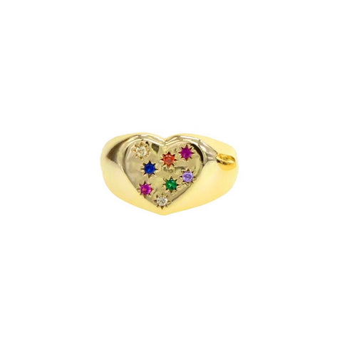 Heart Rainbow Starbursts Signet Ring