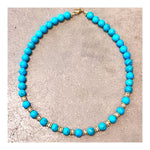 Large Turquoise Round Beads Custom Beaded Necklace