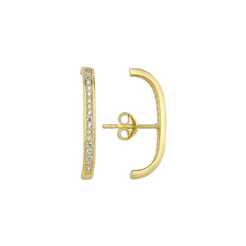 Pave Hook Stud Earring