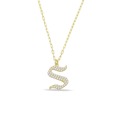 Large Pave Lower Case Necklace