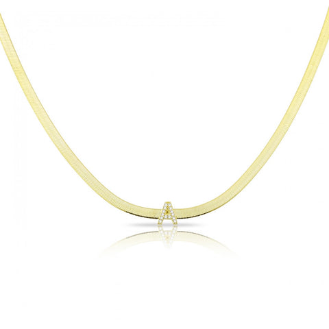 Pave Letter in Snake Skin Style Choker Necklace