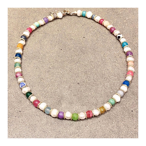 Pearls & Assorted Gems Custom Beaded Necklace