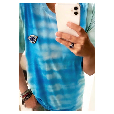 Blue & Green Jewel Eye Tie Dye Tee